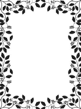 white: Floral frame with a holly branch