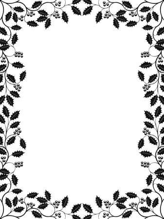 �white: Marco floral con una rama de acebo  Vectores