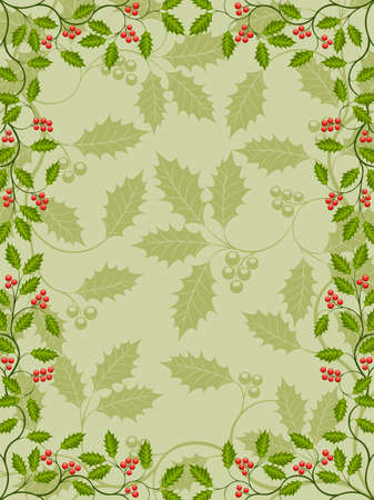 Floral frame with a holly branch Vector