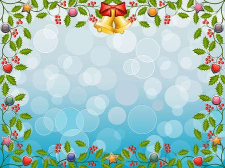 Christmas frame with a holly Vector