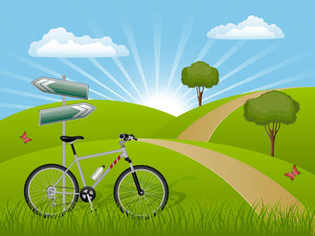 guidepost: Summer landscape with a bike Illustration