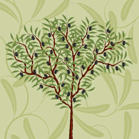 Floral pattern with an olive tree Ilustracja