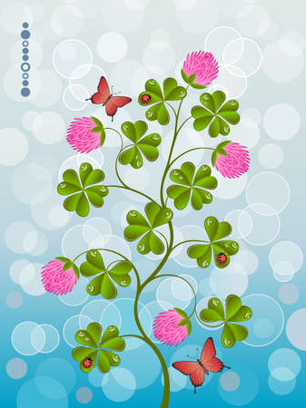 Floral background with a clover Vector