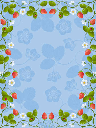 Floral frame with a strawberry Vector