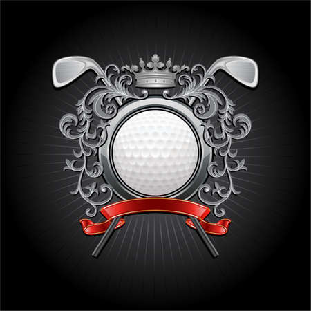 Сoat of arms with a golf ball and putters 矢量图像
