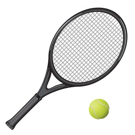 Imagen aislado de una raqueta de tenis y la bola