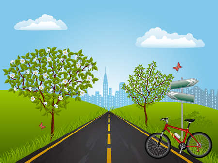 Summer landscape with a bike Stock Vector - 8951168