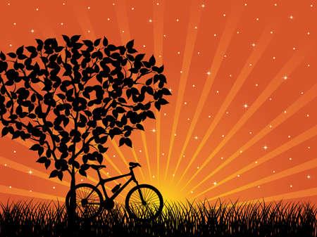 Paisaje de amanecer con una bicicleta