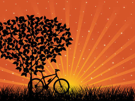 Sunrise landscape with a bike Vector