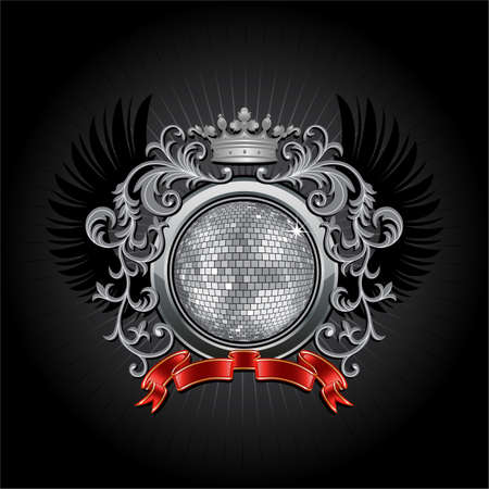 disco ball: Coat of arms with a disco ball Illustration