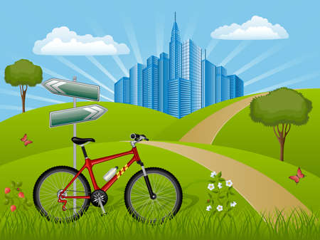 Summer landscape with a bike Stock Vector - 9377373
