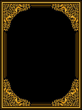 gold frame: Vintage floral frame Illustration