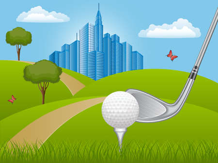 Summer landscape with golf club Vector