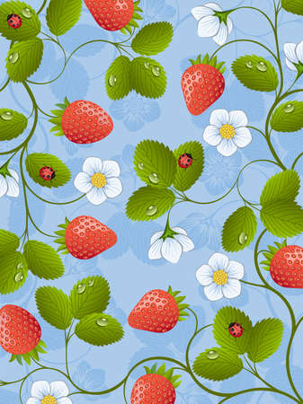 Floral background with a strawberry Vector
