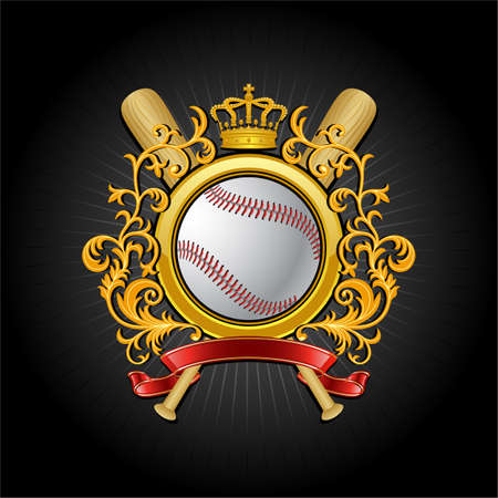 Сoat of arms. Baseball symbol 矢量图像