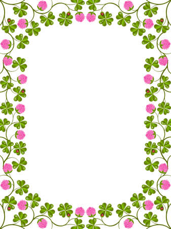 Floral frame with a clover Illustration