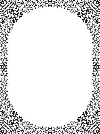 black and white plant: Vintage floral frame Illustration