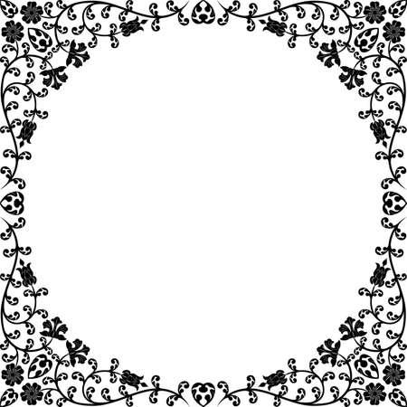 cadre noir et blanc: Vintage floral frame. Patron r�tro Illustration