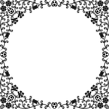 monocrom�tico: Vintage floral frame. Retro pattern