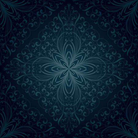 blue damask: Seamless floral pattern