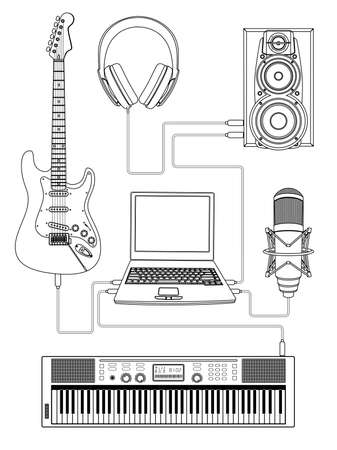 keyboard player: Vector illustration of home media centre
