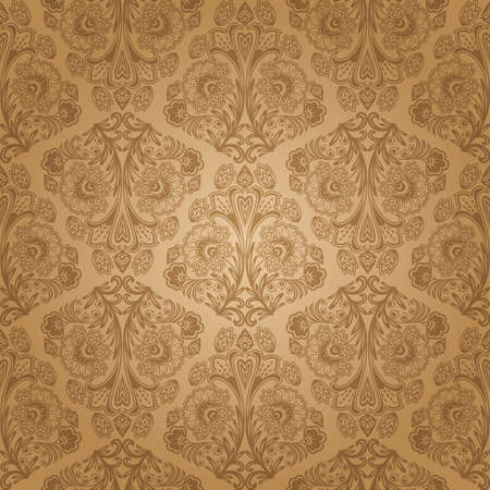 brown: Seamless floral pattern. Retro background