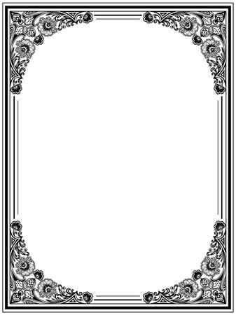Vintage floral frame. Decorative pattern Vector