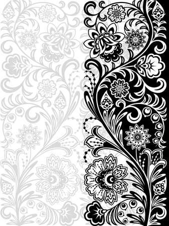 monocrom�tico: Decorative floral background. Seamless pattern