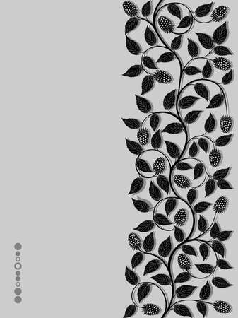 Seamless floral background with a berries Vector