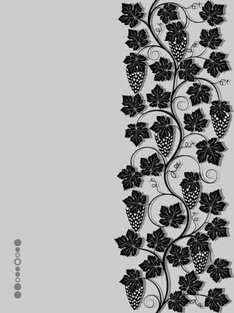 black grape: Seamless floral background with a vine Illustration