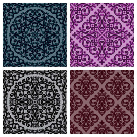 Decorative seamless patterns set. Retro background Vector