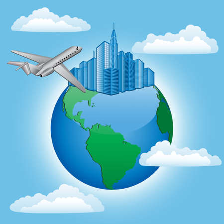 Background with plane and earth. Travel concept Vector