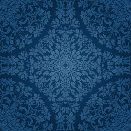 blue damask: Seamless floral pattern. Retro background