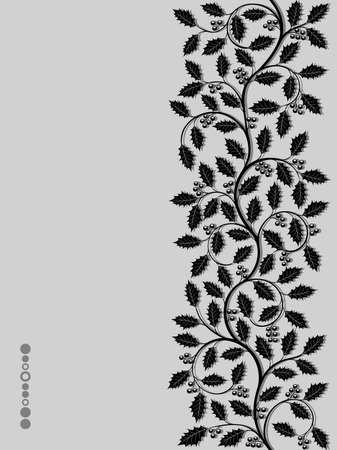 black berry: Floral pattern with ilex. Decorative background
