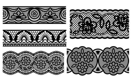 black lace: Lace. Decorative seamless patterns