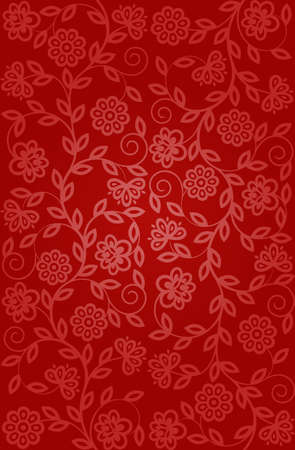 red flower: Seamless floral pattern  Retro background