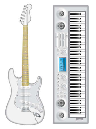stratocaster: Isolated image of guitar and synthesizer