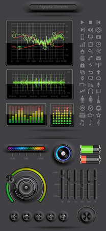 Infographics elements with media icons and buttons Vector