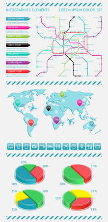 Infographics elements with world map Stock Vector - 15614152