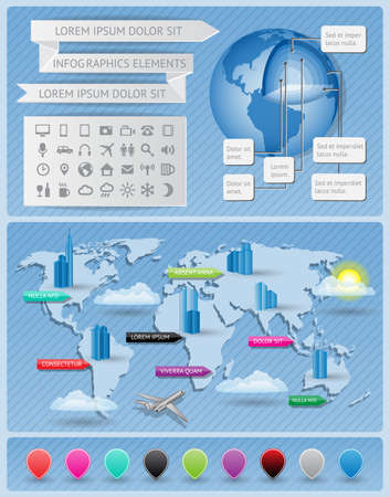 Infographics elements with world map Stock Vector - 15754073