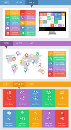 widget: Ui, infographics and web elements including flat design