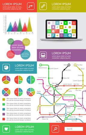 ui: Ui, infographics and web elements including flat design