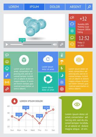 zeitplan: Ui, Infografiken und Web-Elemente wie flache Bauweise