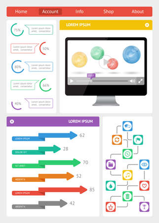 Ui, infographics and web elements including flat design Stock Vector - 21261444