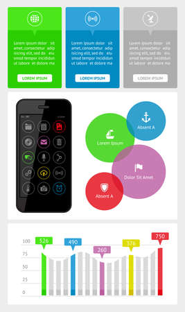 Ui, infographics and web elements including flat design Stock Vector - 21261710