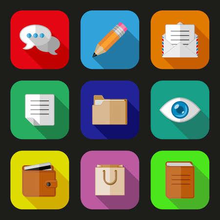 billfold: Flat icons set