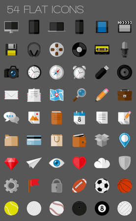 54 flat icons and pictograms set  illustration Vector