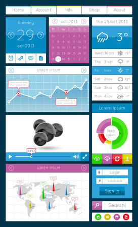 Ui, infographics and web elements including flat design Vector