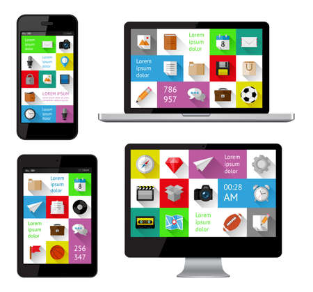 sports app: Isolated gadgets with design elements and templates Illustration