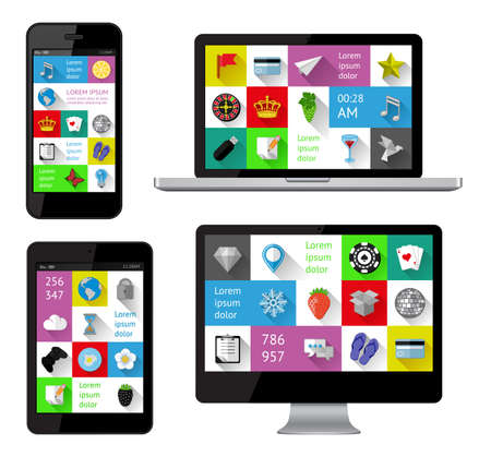 note pc: Isolated gadgets with infographics including flat design Illustration